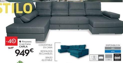Oferta de Rinconera U con cama CARLA  por 949€