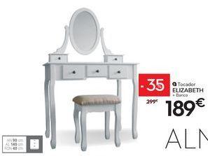 Oferta de Tocador 5 cajones con espejo ELIZABETH por 189€