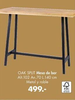 Oferta de Mesa de bar OAK SPLIT  por 499€