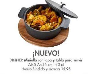 Oferta de Miniollas con tapa y tabla para servir DINNER por 15,95€
