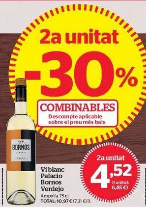 Oferta de Vino blanco Palacio de Bornos por 4,52€