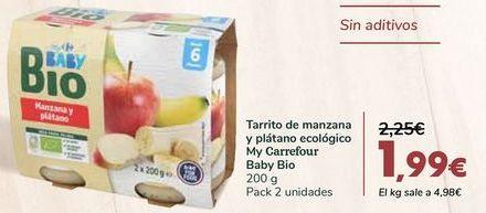 Oferta de Tarrito de manzana y plátano ecológico My Carrefour Baby Bio por 1,99€