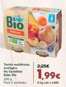 Oferta de Tarrito multifrutas ecológico My Carrefour Baby Bio por 1,99€