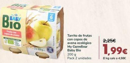 Oferta de Tarrito de frutas con copos de avena ecológico My Carrefour Baby Bio por 1,99€