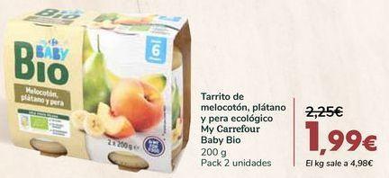 Oferta de Tarrito de melocotón, plátano y pera ecológico My Carrefour Baby Bio por 1,99€