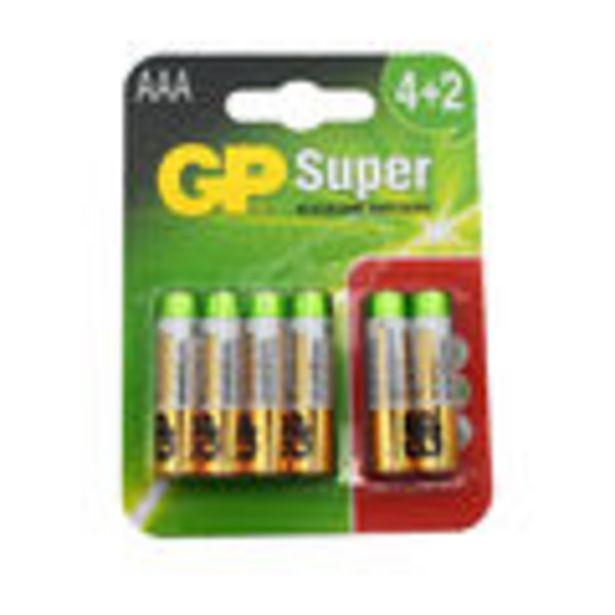 Oferta de Blister de 4 + 2 unidades pilas alcalinas marca GP, modelo: LR03 por 4,72€