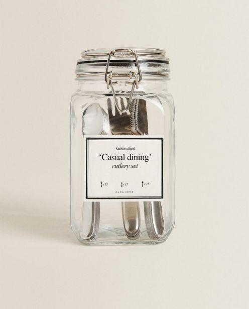 Oferta de Cubertería En Bote De Cristal (45 Piezas) por 19,99€