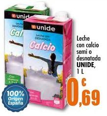 Oferta de Leche con calcio, semi o desnatada UNIDE, 1 L por 0,69€