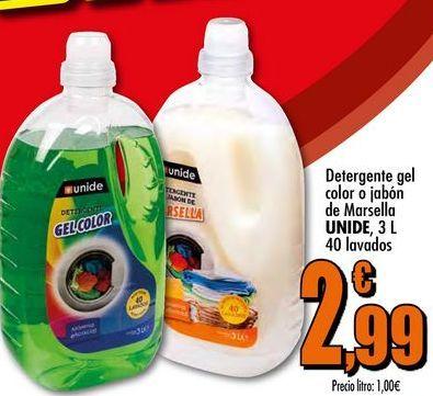 Oferta de Detergente gel color o jabón de Marsella UNIDE, 3 L 40 lavados por 2,99€