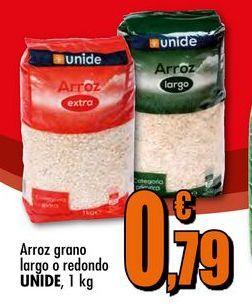 Oferta de Arroz grano largo o redondo UNIDE, 1 kg por 0,79€