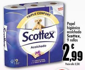 Oferta de Papel higiénico acolchado Scottex, 9 rollos por 2,99€
