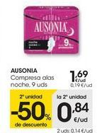 Oferta de AUSONIA Compresa alas noche  por 1,69€