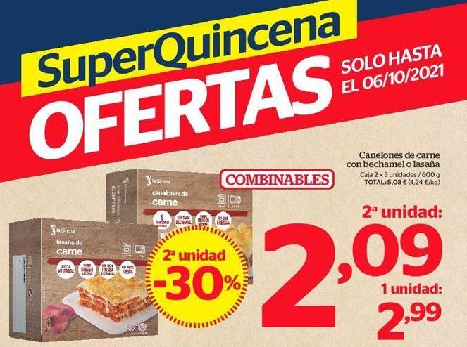 Oferta de Canelones de carne con bechamel o lasaña por 2,21€