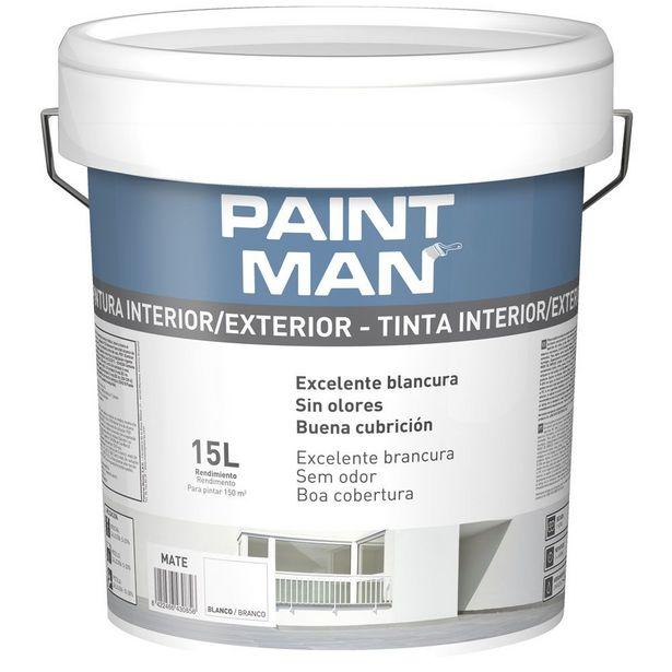 Oferta de PINTURA PLÁSTICA PAINTMAN BLANCA INTERIOR/EXTERIOR 15L por 21,95€