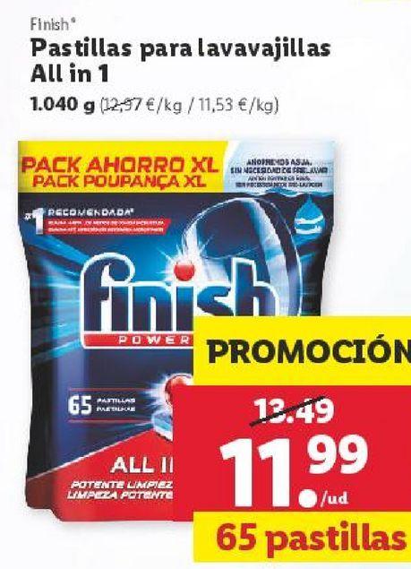 Oferta de Detergente en cápsulas Finish por 11,99€