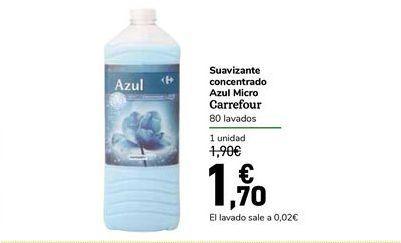 Oferta de Suavizante cincentrado Azul Micro Carrefour 80 lavados por 1,7€