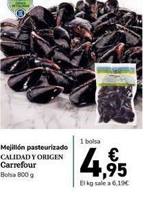 Oferta de Mejillón pasteurizado Calidad y Origen Carrefour, bolsa 800 g por 4,95€