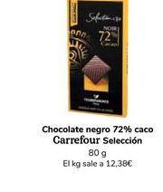 Oferta de Chocolate negro 72% cacao Carrefour Selección, 80 g por 0,99€