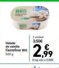 Oferta de Helado de vainilla Carrefour Bio 500 g por 2,99€