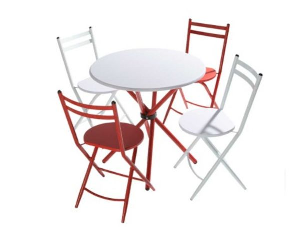 Oferta de Mesa redonda más cuatro sillas plegables MODELO LAWTON por 231€