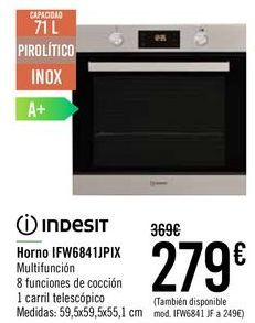 Oferta de INDESIT Horno IFW6841JPIX  por 279€