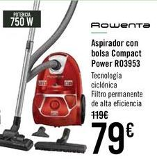 Oferta de ROWENTA Aspirador con bolsa Compact Power R03953 por 79€