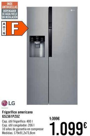 Oferta de LG Frigorifico americana GSL561PZUZ  por 1099€