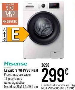 Oferta de HISENSE Lavadora WPFV9014EM  por 299€