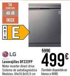 Oferta de LG Lavavajillas DF222FP  por 499€