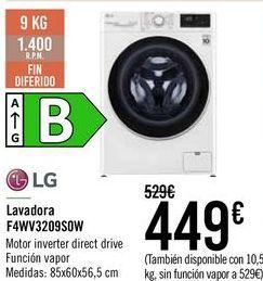 Oferta de LG Lavadora F4WV3209S0W  por 449€