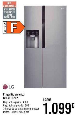 Oferta de LG Frigorífico americano GSL56PZUZ  por 1049€