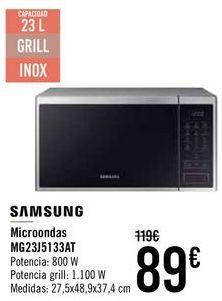 Oferta de SAMSUNG Microondas MG23J5133AT  por 85€