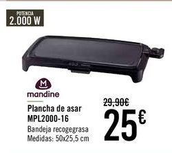 Oferta de Mandine Plancha de asar MPL2000-16  por 24€