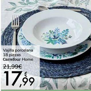 Oferta de Vajilla porcelana 18 piezas Carrefour Home por 17,99€