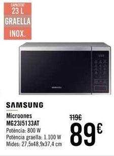Oferta de SAMSUNG Microondas MG23J5133AT por 89€