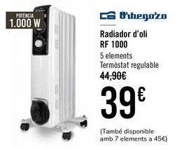 Oferta de Orbegozo Radiador de Aceite RF 1000 por 39€