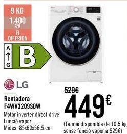 Oferta de LG Lavadora F4WV3209SDW por 429€