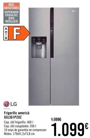 Oferta de LG Frigorífico americano GSL561PZUZ por 1099€