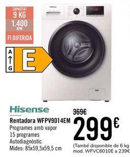 Oferta de Hisense Lavadora WFPV9014EM por 289€