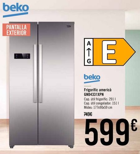 Oferta de Beko Frigorífico americano GN04331XPN por 599€