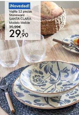 Oferta de Vajilla 12 piezas Stoneware SANTA CLARA Modelo Melide por 29,9€