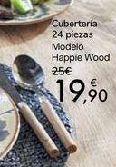 Oferta de Cubertería 24 piezas Modelo Happie Wood por 19,9€