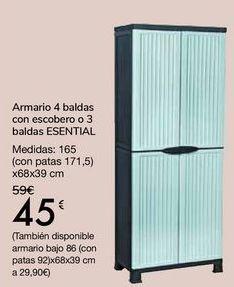 Oferta de Armario 4 baldas con escobero o 3 baldas ESENTIAL  por 45€