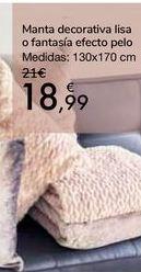 Oferta de Manta decorativa lisa o fantasía efecto pelo por 18,99€