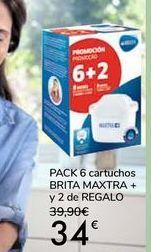 Oferta de PACK 6 cartuchos BRITA MAXTRA + y 2 de REGALO por 34€