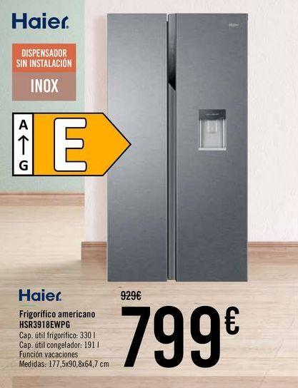 Oferta de Haier Frigífico americano HSR3918EWPG  por 799€