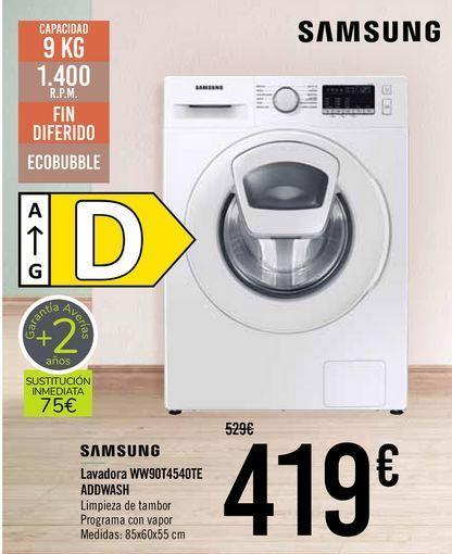 Oferta de SAMSUNG Lavadora WWT90T4540TE ADDWASH  por 419€