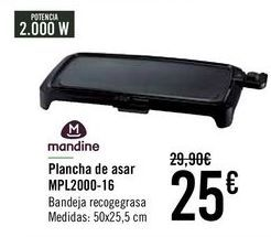Oferta de Mandine Plancha de asar MPL2000-16  por 25€