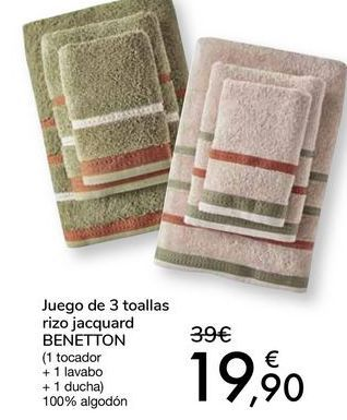 Oferta de Juego de 3 toallas rizo jacquard BENETTON por 19,9€
