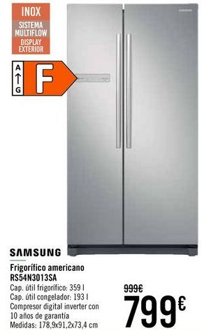 Oferta de SAMSUNG Frigorífico americano RS54N3013SA  por 799€